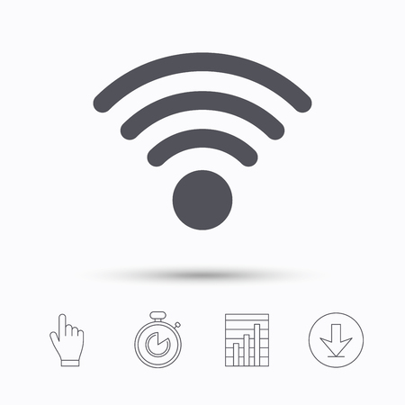 Wifi icon. Wireless internet sign. Communication technology symbol. Stopwatch timer. Hand click, report chart and download arrow. Linear icons. Vector
