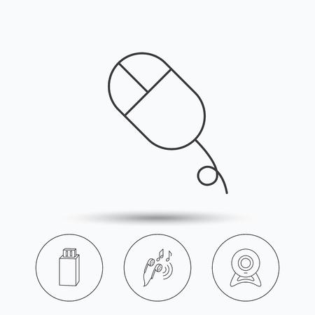 Cámara Web Flash Usb Y Los Iconos Del Mouse De Pc Señal