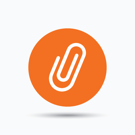 Attachment icon. Paper clip symbol. Orange circle button with flat web icon. Vector Illustration