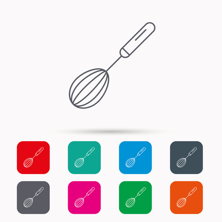 whisking: Whisk icon. Kitchen tool sign. Kitchenware whisking beater symbol. Linear icons in squares on white background. Flat web symbols. Vector