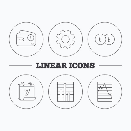 deceleration: Currency exchange, chart and euro wallet icons. Statistics graph linear signs. Flat cogwheel and calendar symbols. Linear icons in circle buttons. Vector