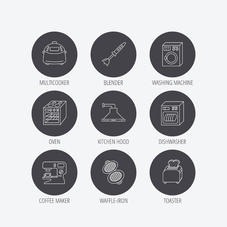 coffee blender: Dishwasher, washing machine and blender icons. Kitchen hood, coffee maker and toaster linear signs. Oven, multicooker and waffle-iron icons. Linear icons in circle buttons. Flat web symbols. Vector