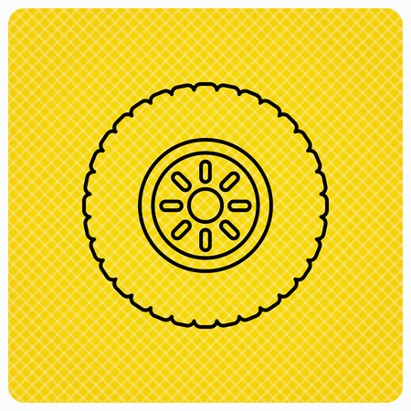 flaring: Car wheel icon. Tire service sign. Linear icon on orange background. Vector Illustration