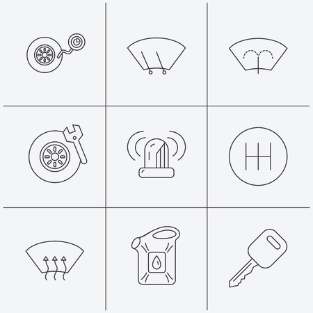 heated: Manual gearbox, tire service and car key icons. Siren alarm, jerrycan and wheel pressure linear signs. Window washing, wiper and heated icons. Linear icons on white background. Vector