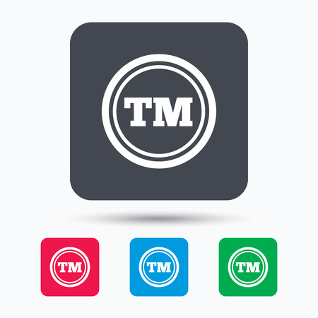tm: Registered TM trademark icon. Intellectual work protection symbol. Colored square buttons with flat web icon. Vector