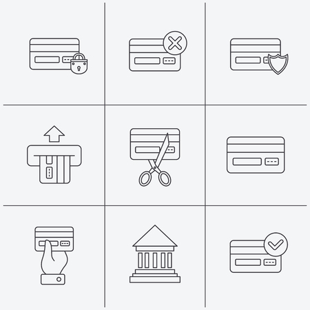 transactions: Bank credit card icons. Banking, blocked and expired debit card linear signs. Money transactions and shopping icons. Linear icons on white background. Vector