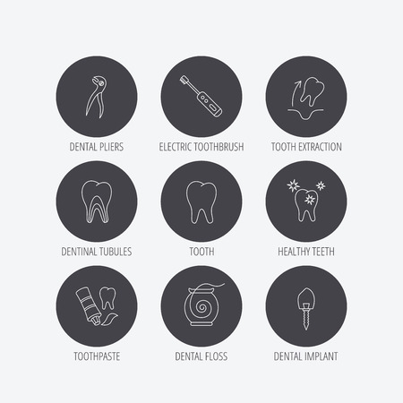 tooth extraction: Tooth extraction, electric toothbrush icons. Dental implant, floss and dentinal tubules linear signs. Toothpaste icon. Linear icons in circle buttons. Flat web symbols. Vector