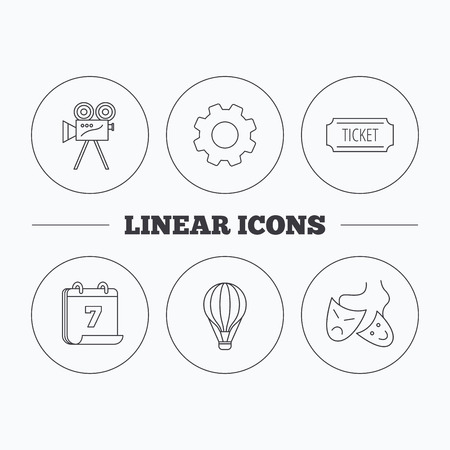 theatre masks: Video camera, ticket and theatre masks icons. Air balloon linear sign. Flat cogwheel and calendar symbols. Linear icons in circle buttons. Vector