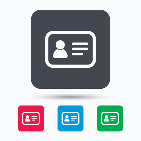 authentication: ID card icon. Personal identification document symbol. Colored square buttons with flat web icon. Vector