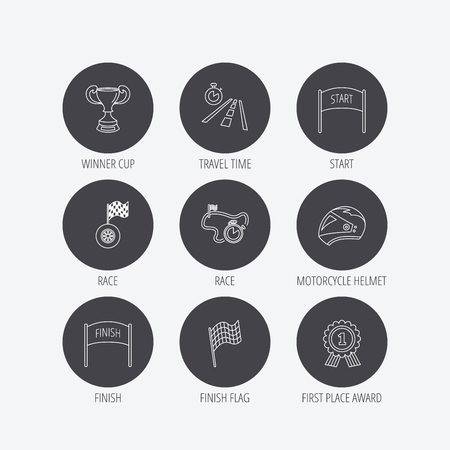 race winner: Winner cup and award icons. Race flag, motorcycle helmet and timer linear signs. Road travel, finish and start flat line icons. Linear icons in circle buttons. Flat web symbols. Vector