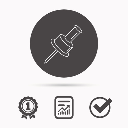 office stationery: Pushpin icon. Pin tool sign. Office stationery symbol. Report document, winner award and tick. Round circle button with icon. Vector