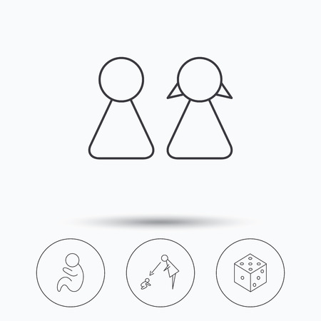 supervisión: Couple, paediatrics and dice icons. Under supervision linear sign. Linear icons in circle buttons. Flat web symbols. Vector