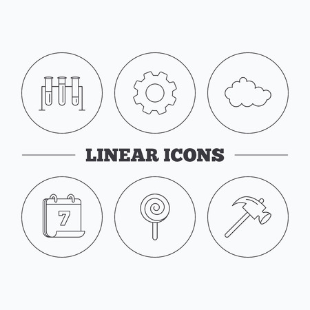 analyses: Hammer, lab bulbs and weather cloud icons. Lolly pop linear sign. Flat cogwheel and calendar symbols. Linear icons in circle buttons. Vector