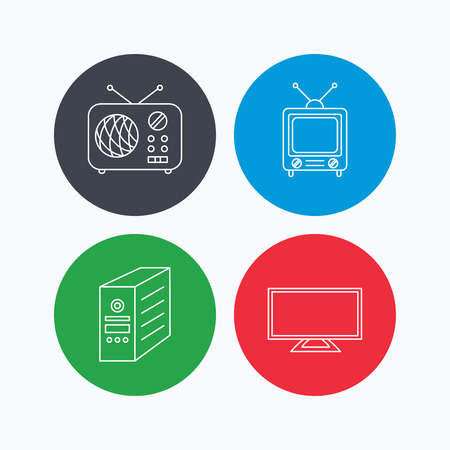 pc case: TV, PC case and retro radio icons. Retro TV linear sign. Linear icons on colored buttons. Flat web symbols. Vector