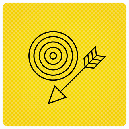 intent: Target with arrow icon. Dart aim sign. Linear icon on orange background. Vector Illustration