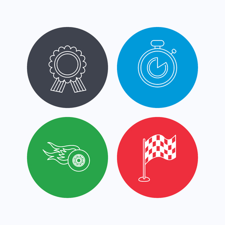 race winner: Race flag, winner medal and timer icons. Wheel on fire linear sign. Linear icons on colored buttons. Flat web symbols. Vector