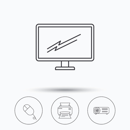 portative: Monitor, printer and projector icons. PC mouse linear sign. Linear icons in circle buttons. Flat web symbols. Vector