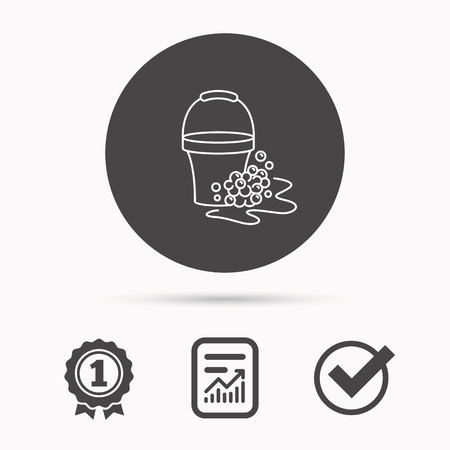 soapy: Soapy cleaning icon. Bucket with foam and bubbles sign. Report document, winner award and tick. Round circle button with icon. Vector Illustration