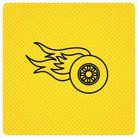 Wheel on fire icon. Race or Speed sign. Linear icon on orange background. Vector