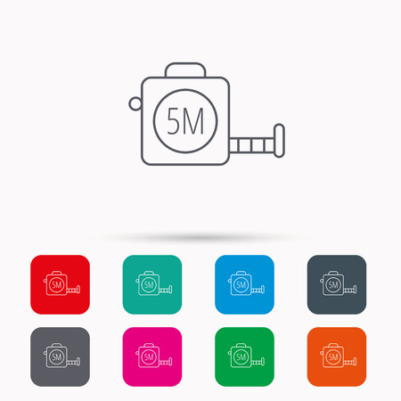 centimetre: Tape measurement icon. Roll ruler sign. Linear icons in squares on white background. Flat web symbols. Vector Illustration