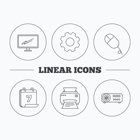 portative: Monitor, printer and projector icons. PC mouse linear sign. Flat cogwheel and calendar symbols. Linear icons in circle buttons. Vector Illustration