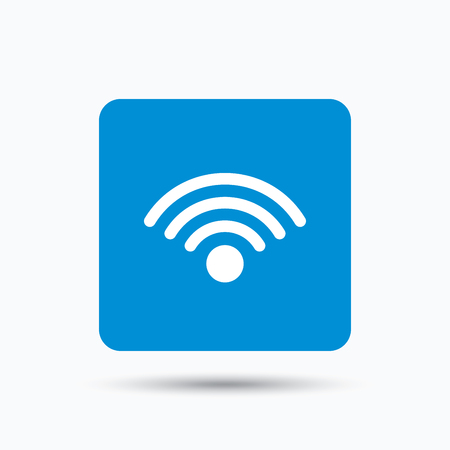wireless communication: Wifi icon. Wireless internet sign. Communication technology symbol. Blue square button with flat web icon. Vector Illustration