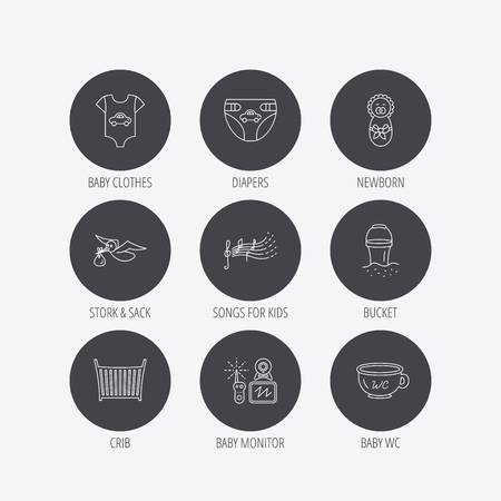 beach bucket: Diapers, newborn baby and clothes icons. Kids songs, beach bucket and bed linear signs. Video monitoring, wc flat line icons. Linear icons in circle buttons. Flat web symbols. Vector