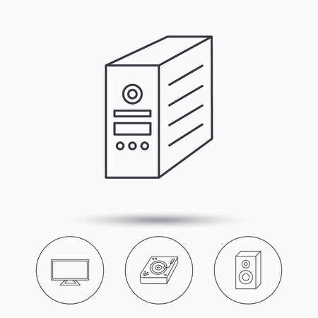 pc case: Sound, club music and pc case icons. TV linear sign. Linear icons in circle buttons. Flat web symbols. Vector Illustration