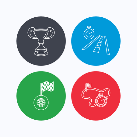 time drive: Winner cup, race timer and flag icons. Travel time linear sign. Linear icons on colored buttons. Flat web symbols. Vector