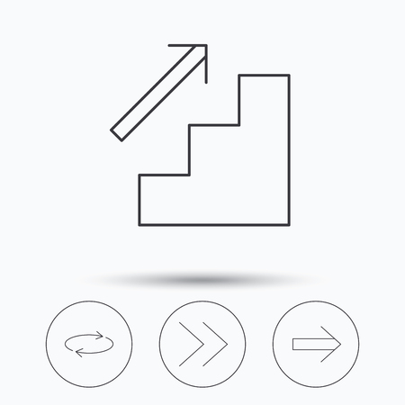 upstairs: Arrows icons. Upstairs, next and repeat linear signs. Next arrow flat line icons. Linear icons in circle buttons. Flat web symbols. Vector