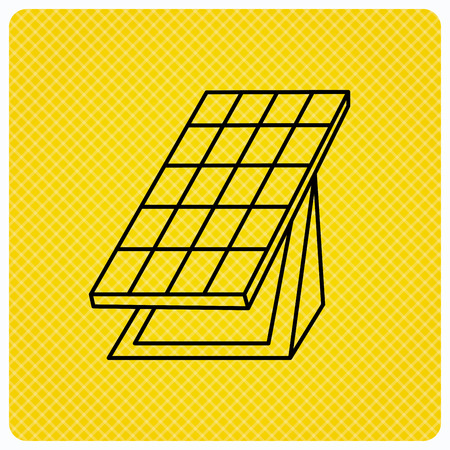 collector: Solar collector icon. Sunlight energy generation sign. Innovation battery power symbol. Linear icon on orange background. Vector