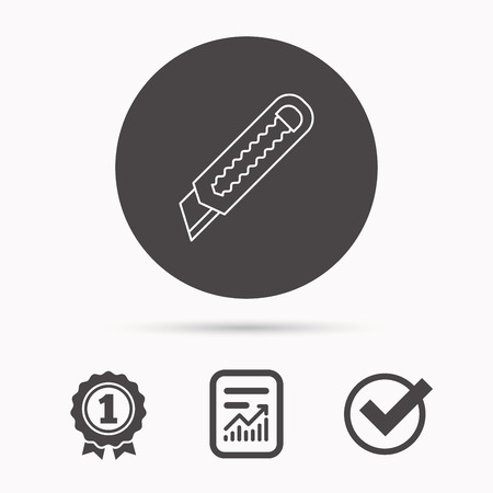 retractable: Paper knife icon. Cutter tool sign. Report document, winner award and tick. Round circle button with icon. Vector