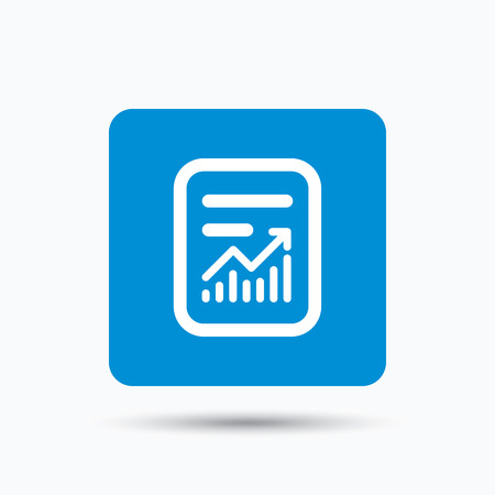 statistics icon: Report file icon. Document page with statistics symbol. Blue square button with flat web icon. Vector