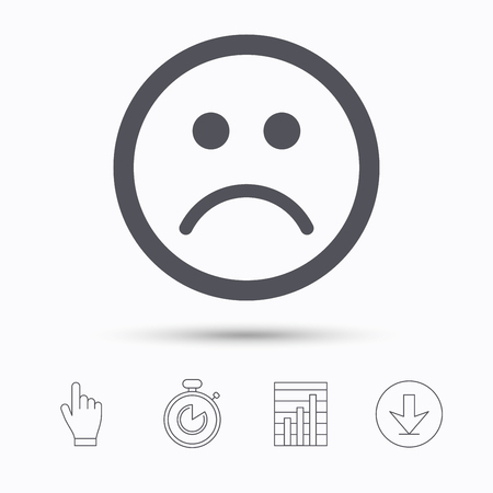 bad service: Sad smiley icon. Bad feedback symbol. Stopwatch timer. Hand click, report chart and download arrow. Linear icons. Vector