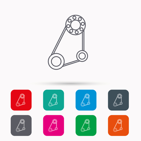 alternator: Timing belt icon. Generator strap sign. Repair service symbol. Linear icons in squares on white background. Flat web symbols. Vector