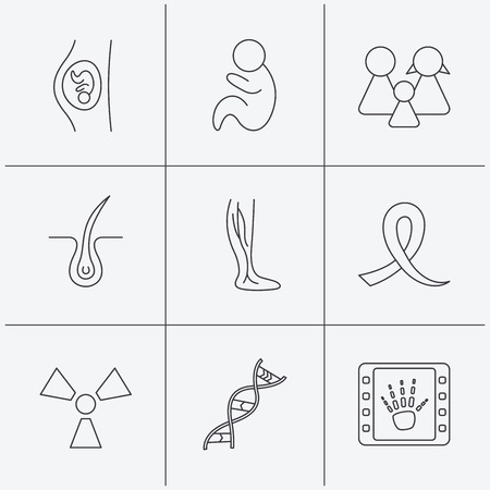 Pregnancy, pediatrics and family icons. Trichology, vein varicose and oncology awareness ribbon linear signs. Radiology, DNA icons. Linear icons on white background. Vector