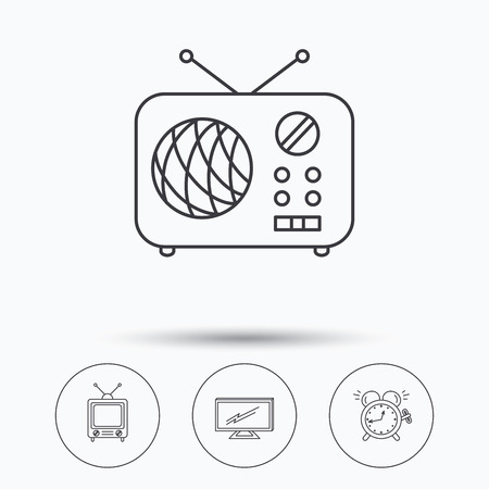 clock radio: TV, retro radio and alarm clock icons. Widescreen TV linear sign. Linear icons in circle buttons. Flat web symbols. Vector