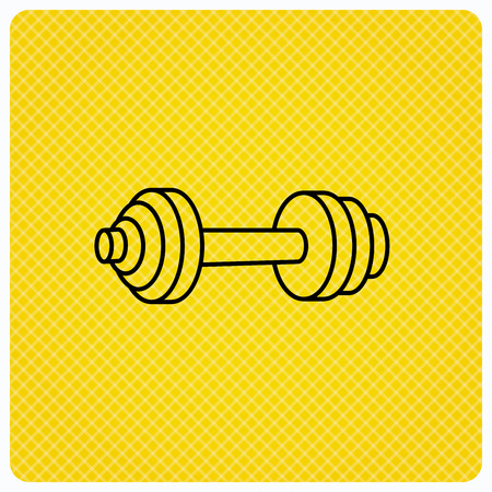 Dumbbell icon. Fitness sport or gym sign. Bodybuilding workout equipment symbol. Linear icon on orange background. Vector