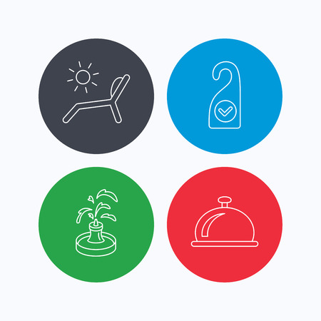 Reception bell, fountain and beach deck chair icons. Clean room linear sign. Linear icons on colored buttons. Flat web symbols. Vector