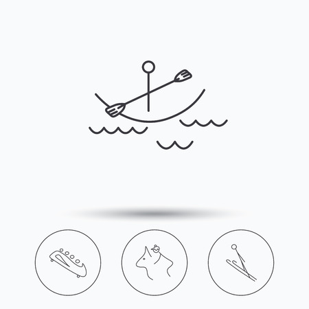 bobsled: Boating, horseback riding and bobsled icons. Ski jumping linear sign. Linear icons in circle buttons. Flat web symbols. Vector