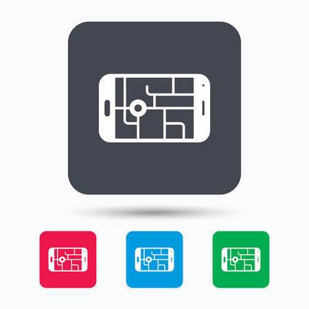 gps device: Gps street navigation icon. Smartphone device symbol. Pokemon egg concept. Colored square buttons with flat web icon. Vector