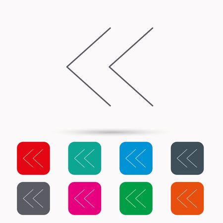 back arrow: Back arrow icon. Previous sign. Left direction symbol. Linear icons in squares on white background. Flat web symbols. Vector