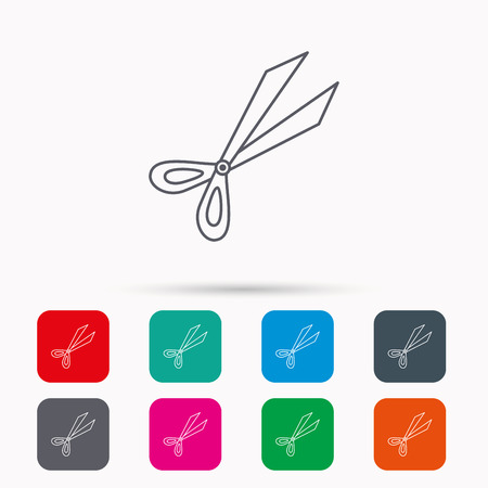 Gardening scissors icon. Secateurs tool sign symbol. Linear icons in squares on white background. Flat web symbols. Vector