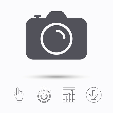 photocamera: Camera icon. Professional photocamera symbol. Stopwatch timer. Hand click, report chart and download arrow. Linear icons. Vector