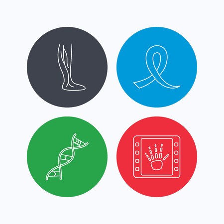 oncology: Phlebology, DNA and X-ray icons. Oncology awareness ribbon linear sign. Linear icons on colored buttons. Flat web symbols. Vector Illustration