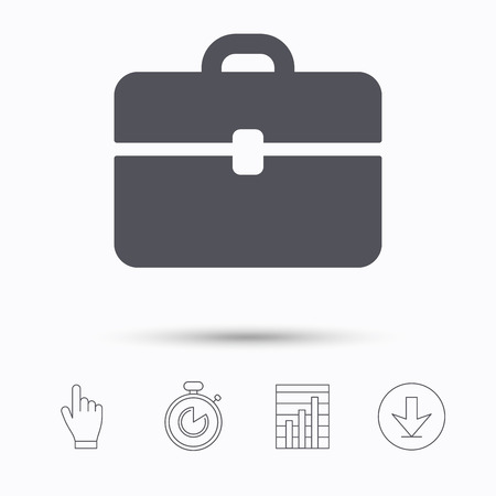 diplomat: Briefcase icon. Diplomat handbag symbol. Business case sign. Stopwatch timer. Hand click, report chart and download arrow. Linear icons. Vector