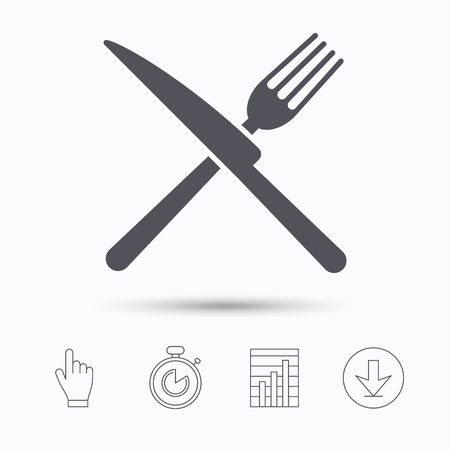 Fork and knife icons. Cutlery symbol. Stopwatch timer. Hand click, report chart and download arrow. Linear icons. Vector