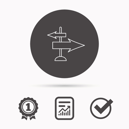 travel guide: Direction arrows icon. Destination way sign. Travel guide symbol. Report document, winner award and tick. Round circle button with icon. Vector Illustration