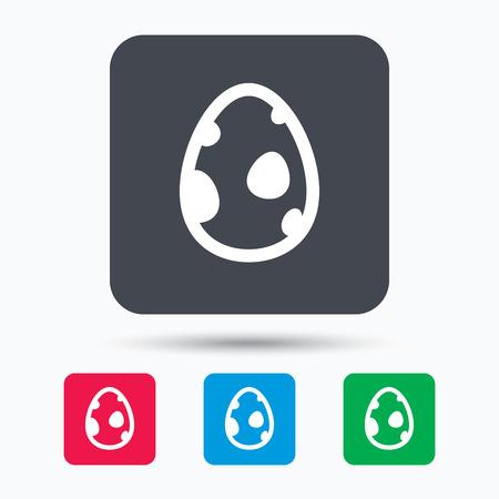 dinosaur egg: Dinosaur egg icon. Birth symbol. Pokemon egg concept. Colored square buttons with flat web icon. Vector