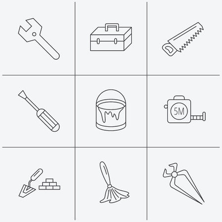nippers: Wrench key, screwdriver and paint brush icons. Toolbox, nippers and saw linear signs. Finishing spatula icon. Linear icons on white background. Vector